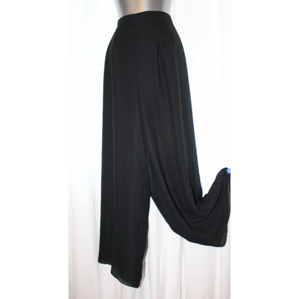 Vintage wide leg pants dressy black chiffon by emeliascloset