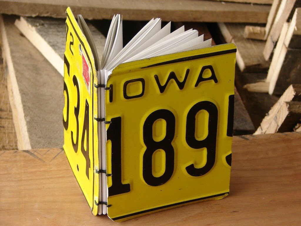 1974 Iowa license plate blank book