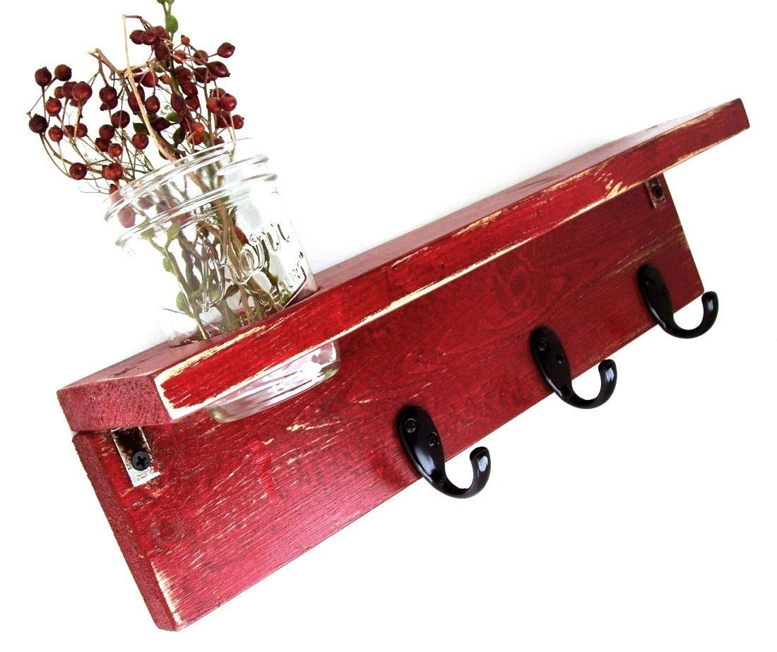 wood wall shelf with hooks corona red by oldnewagain on etsy. Black Bedroom Furniture Sets. Home Design Ideas