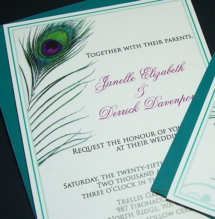 Peacock Wedding Invitation and RSVP Set
