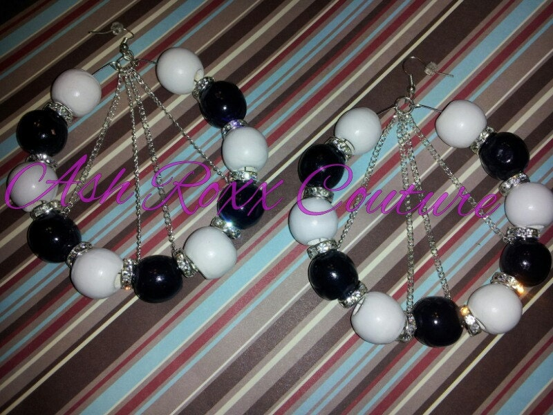 Love and Hip Hop BASKETBALL Wives Cynthia Bailey Tamar Braxton inspired Black and White Chained hoop