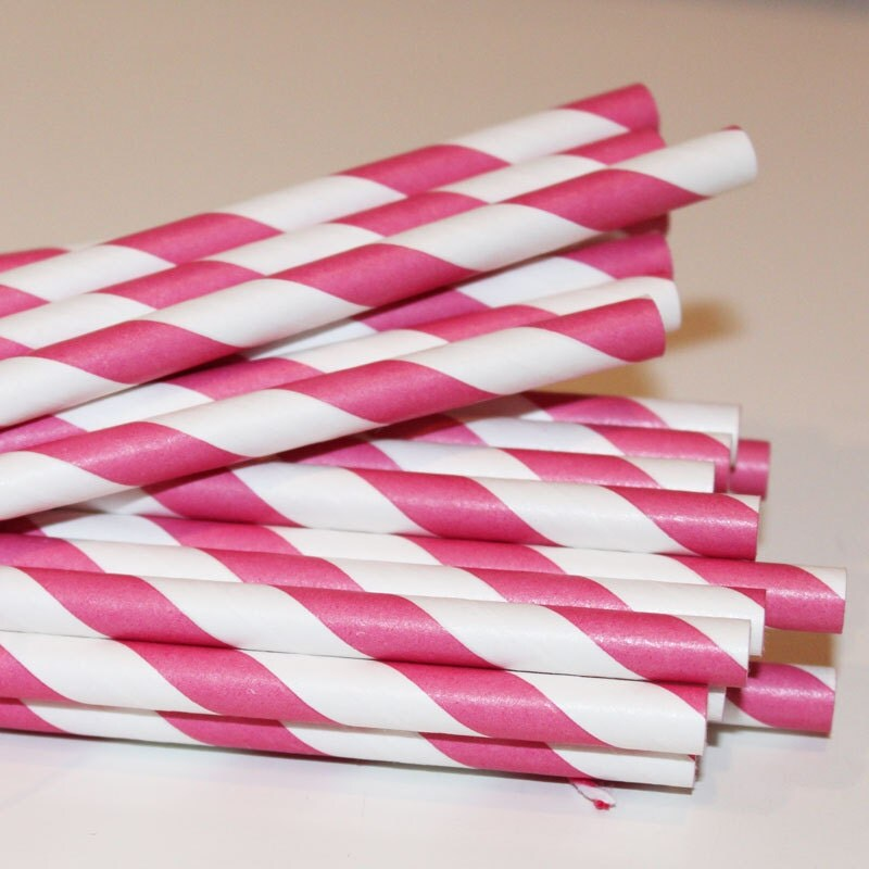 150 Hot Pink Paper Straws with Printable Flags - Weddings - Baby Shower - Birthday -  Striped Vintage