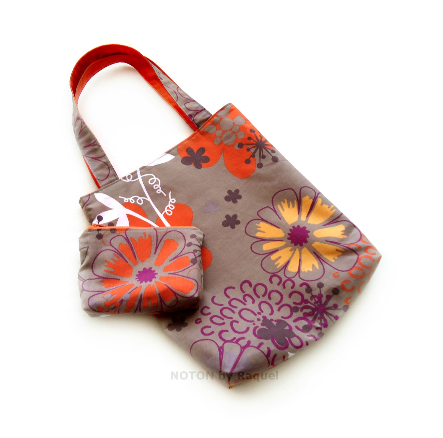 Flowery Brown and Orange Tote Bag and Small Purse Set, womens summer tote bag, shoulder bag and purse, beach purse, gifts for her - NOTONbyRaquel