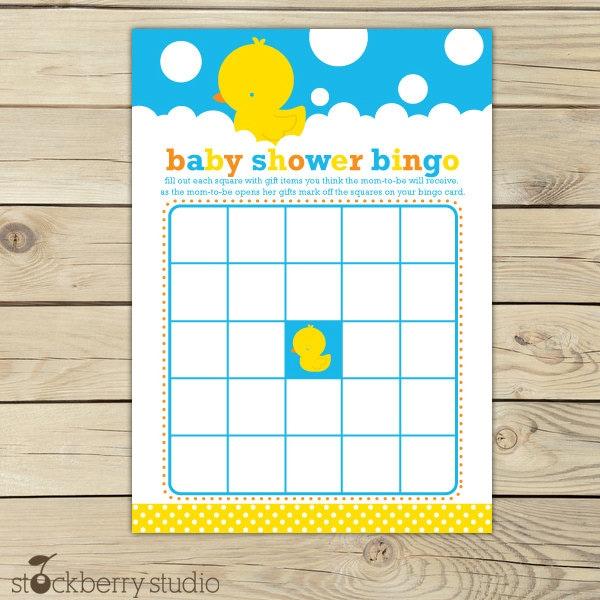 rubber ducky baby shower printable bingo game by stockberrystudio