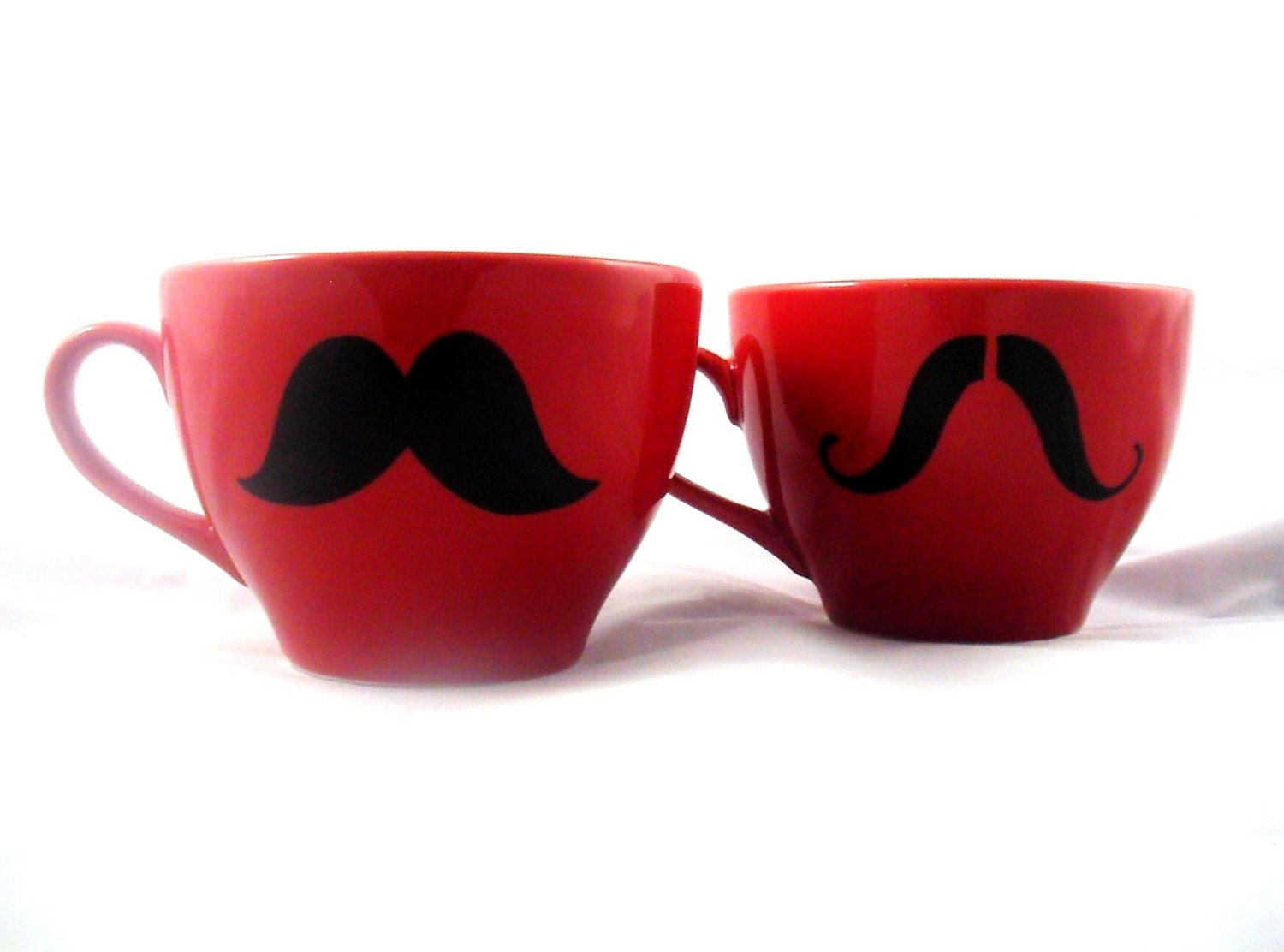 Giant coffee mustache mug set of 2