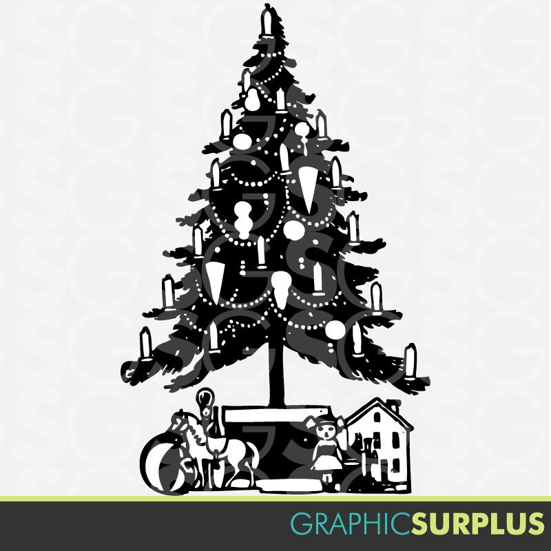 Items similar to Clip Art Vintage Christmas Tree and Toys ...