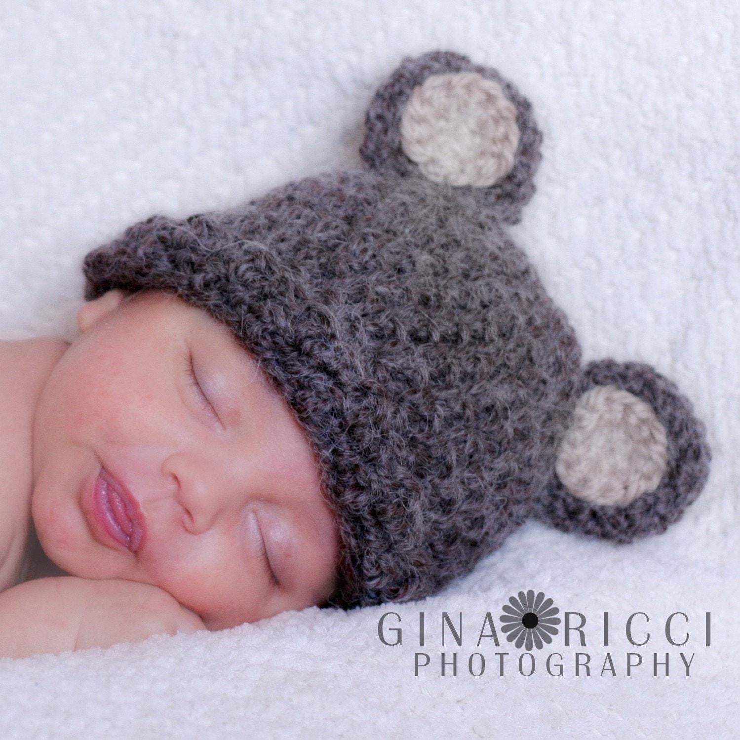 Crochet Baby Hat Bear Pattern : Baby Hat CROCHET PATTERN PDF Teddy Bear Beanie by ...