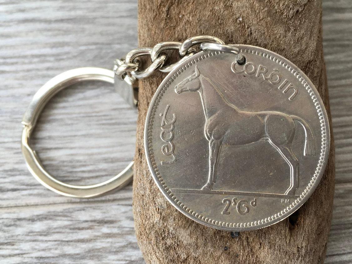 62nd birthday present 1955 Irish coin key chain Ireland Celtic key fob horse coin key ring retirement anniversary gift for man woman