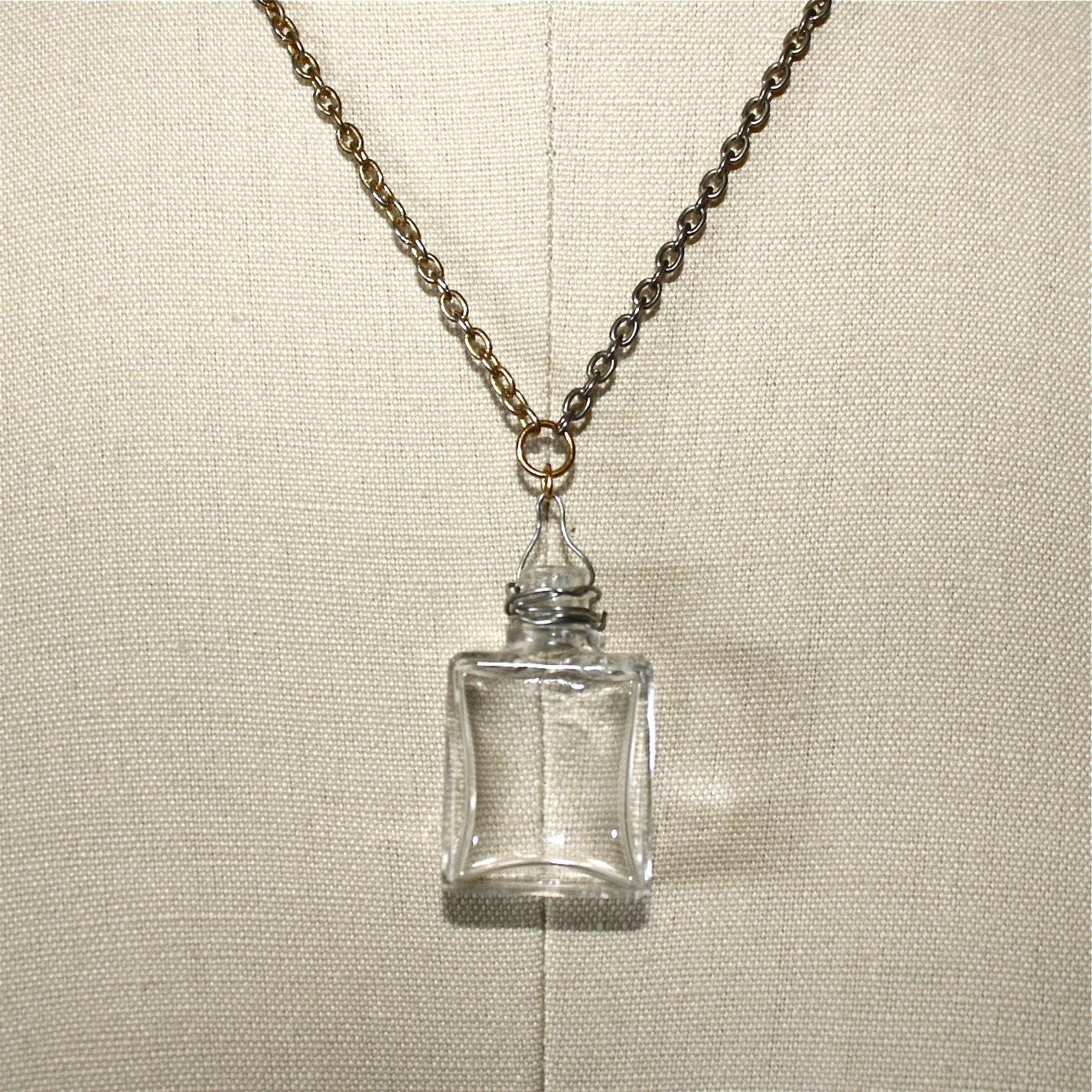 vintage glass bottle pendant necklace by salvagelife