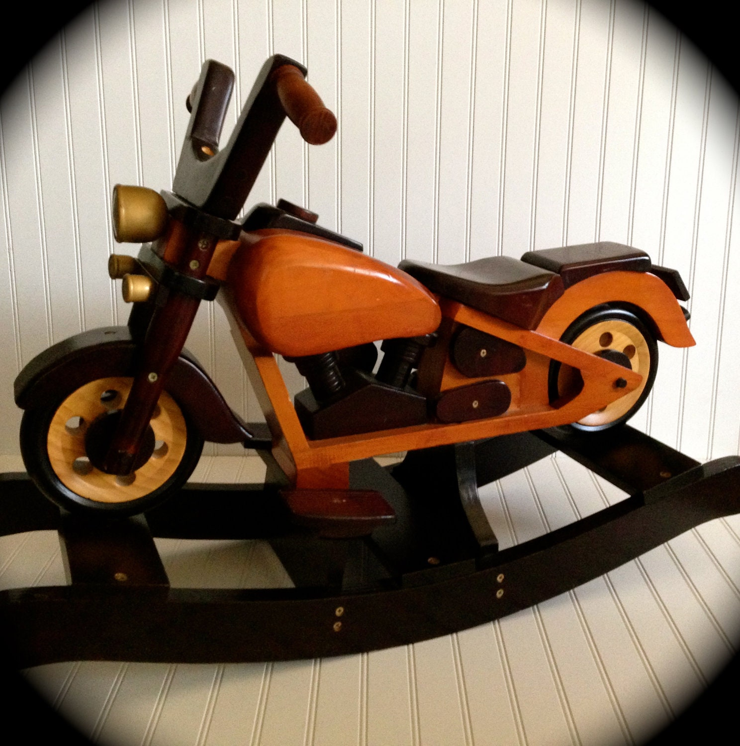 Free shipping antique motorcycle rocking horse by for Scooter rocking horse