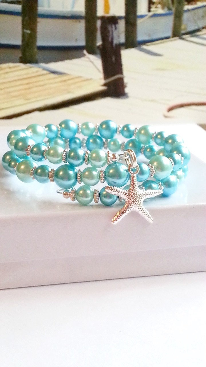 Turquoise pearl bracelets, starfish charm bracelet, ladies beach memory wire wrap - beachseacrafts