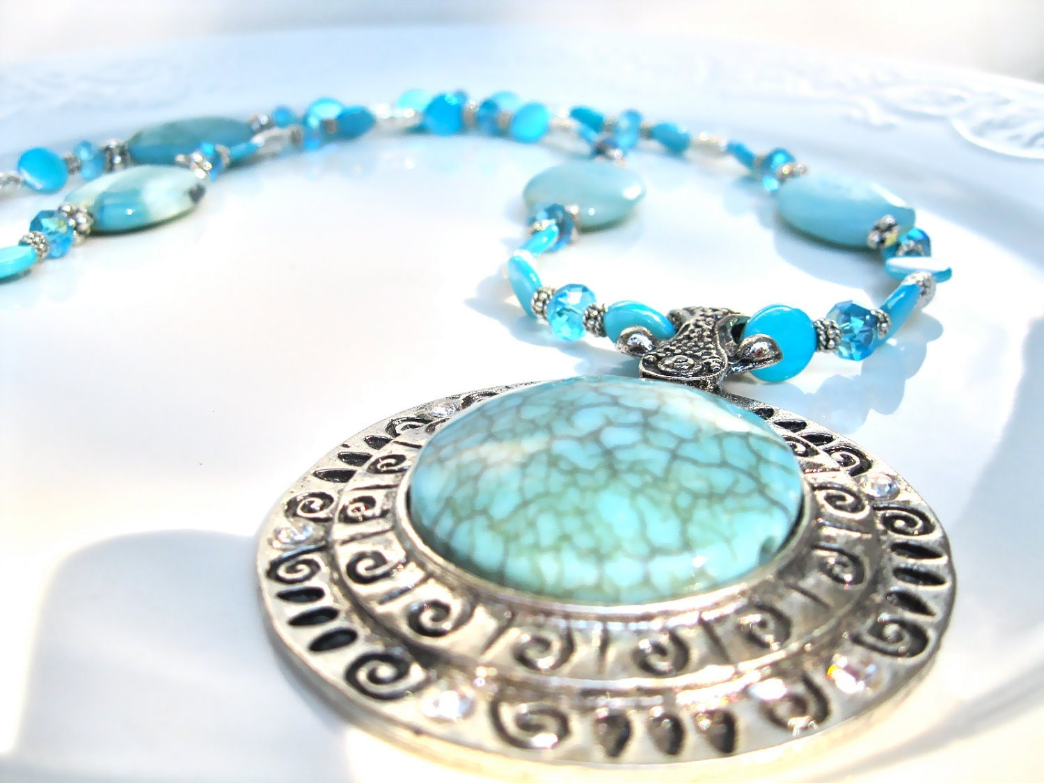 """Statement Necklace, Ethnic Style, Sun Dial Pendant,  Amazonite And Crystals, """"Mayan Goddess"""" - MonasCreationsFL"""