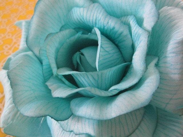 Большой цветок - бирюзовый - Дамских, Измененные Couture, волос Цветы, Шелковый