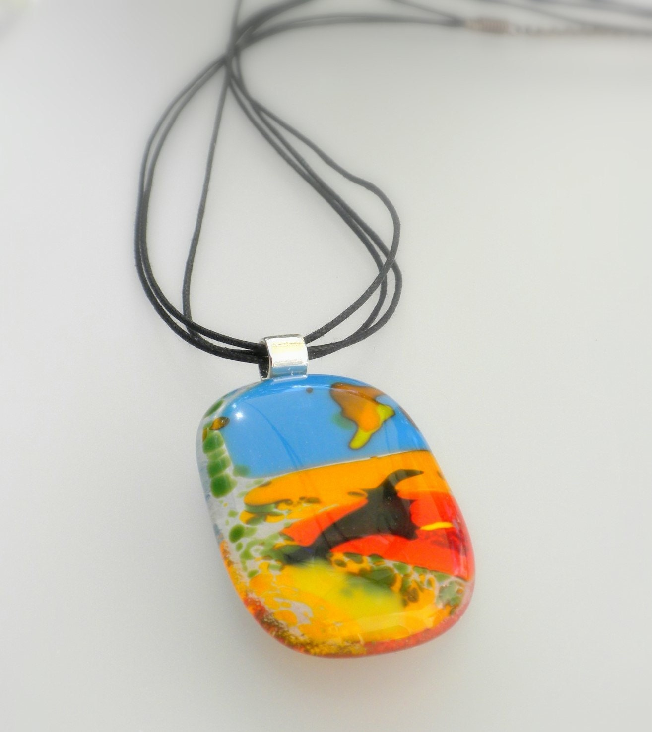 At The Lake - handmade modern fused glass necklace