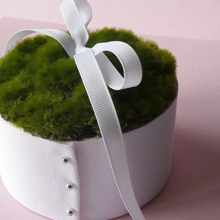 wedding ring bearer elegant nature moss cushion