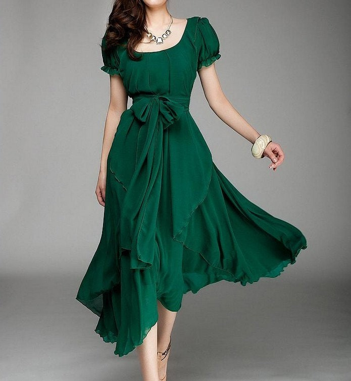 Women 39 s jade green color chiffon long skirt by colorfulday01 for Jade green wedding dresses