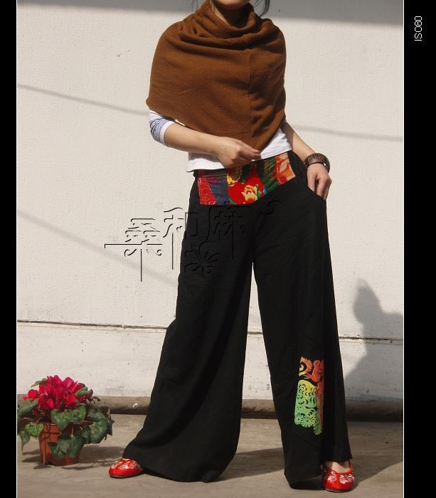 Ethnic Patchwork wide leg pants by sanghema on Etsy