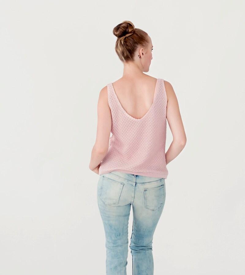 Knit pink tank top, V  line summer top knitted summer tank top women - LittleWhiteCloset