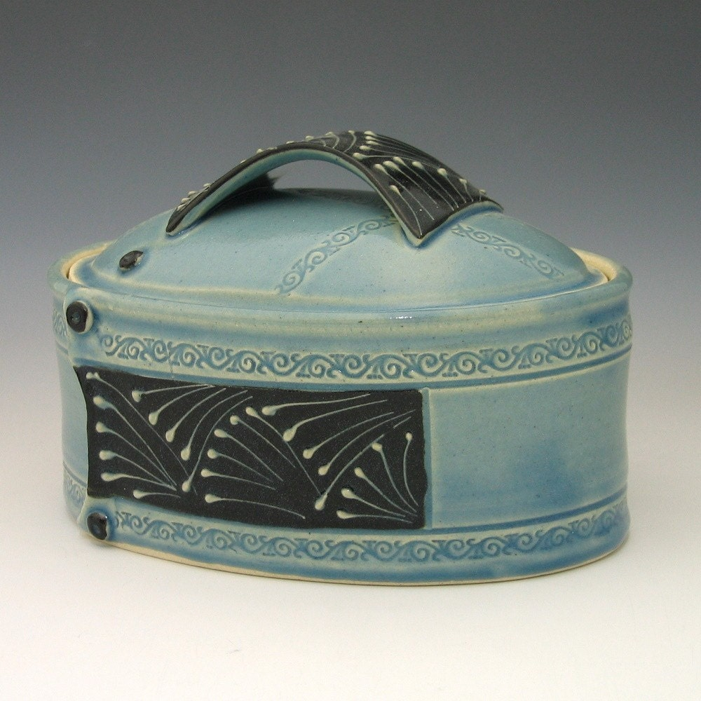 Oval Lidded treasure trinket box in Blue and Black