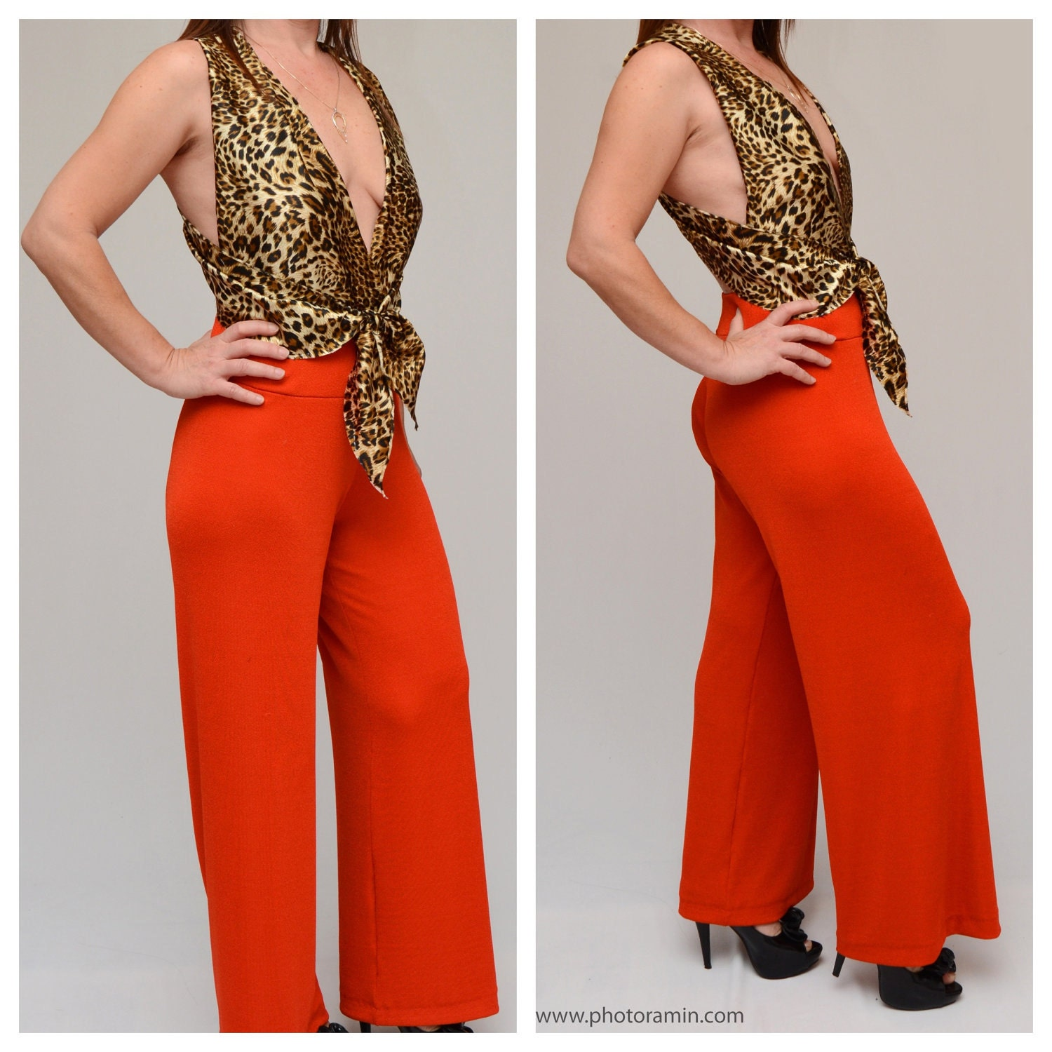 convertible wrap style orange high waisted jumpsuit  silk leopard wraps high waisted wide leg womans pants