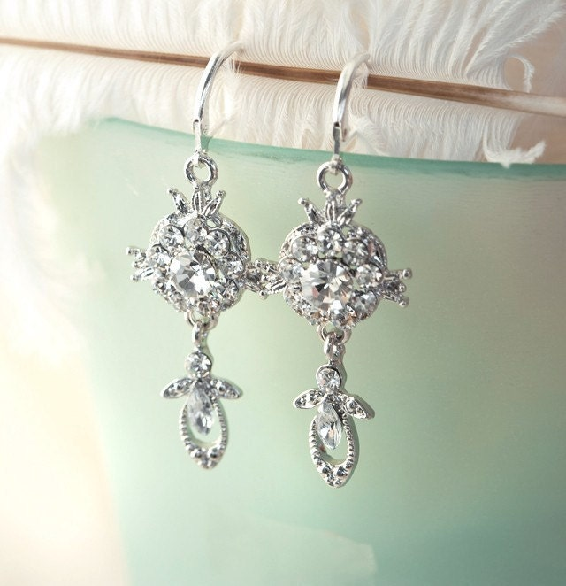 Rhinestone Chandelier Dangle Drop Earrings - Audrey