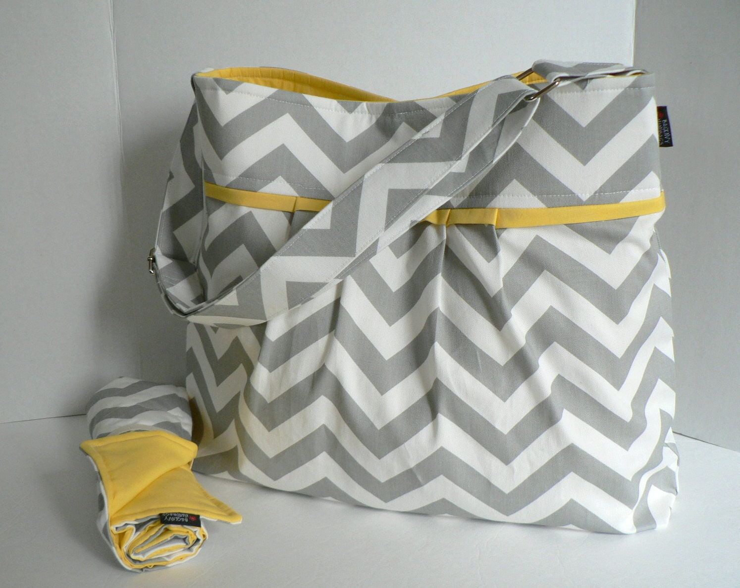Monterey Bag Large Diaper Bag Set - In Grey Chevron and Yellow - Adjustable Strap and Elastic Pockets