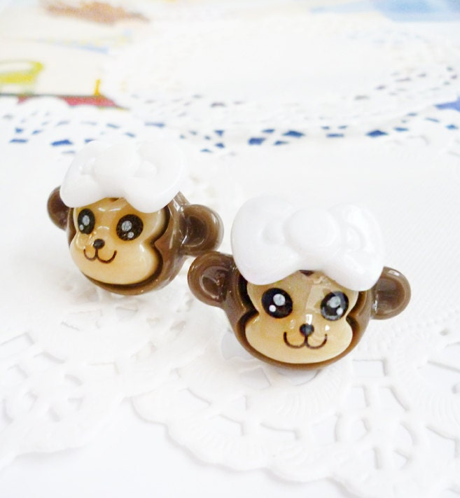 Clay Earrings - Smiling Little Monkeys with White Bows - LAST PAIR -