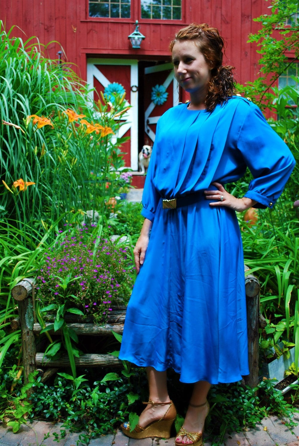 Vintage Blue Dress with Gold Buttons