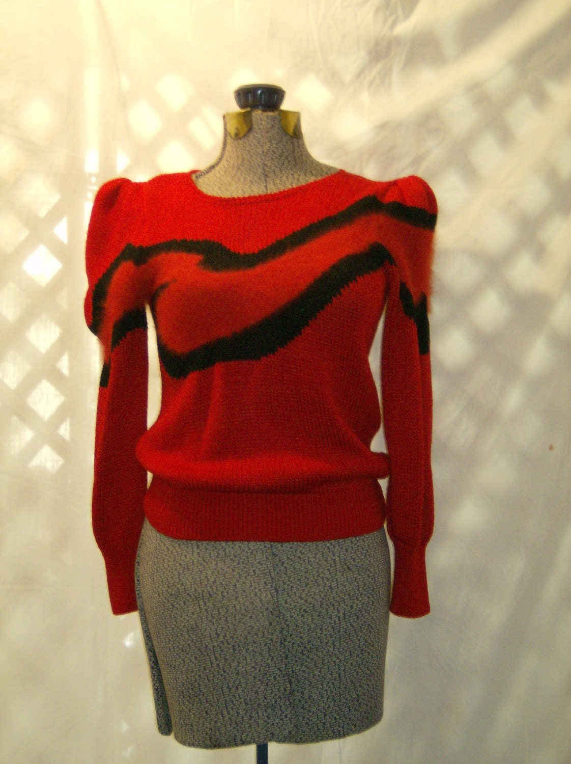 Siren Red Black Angora Knit Sweater Puff Sleeves size small to medium