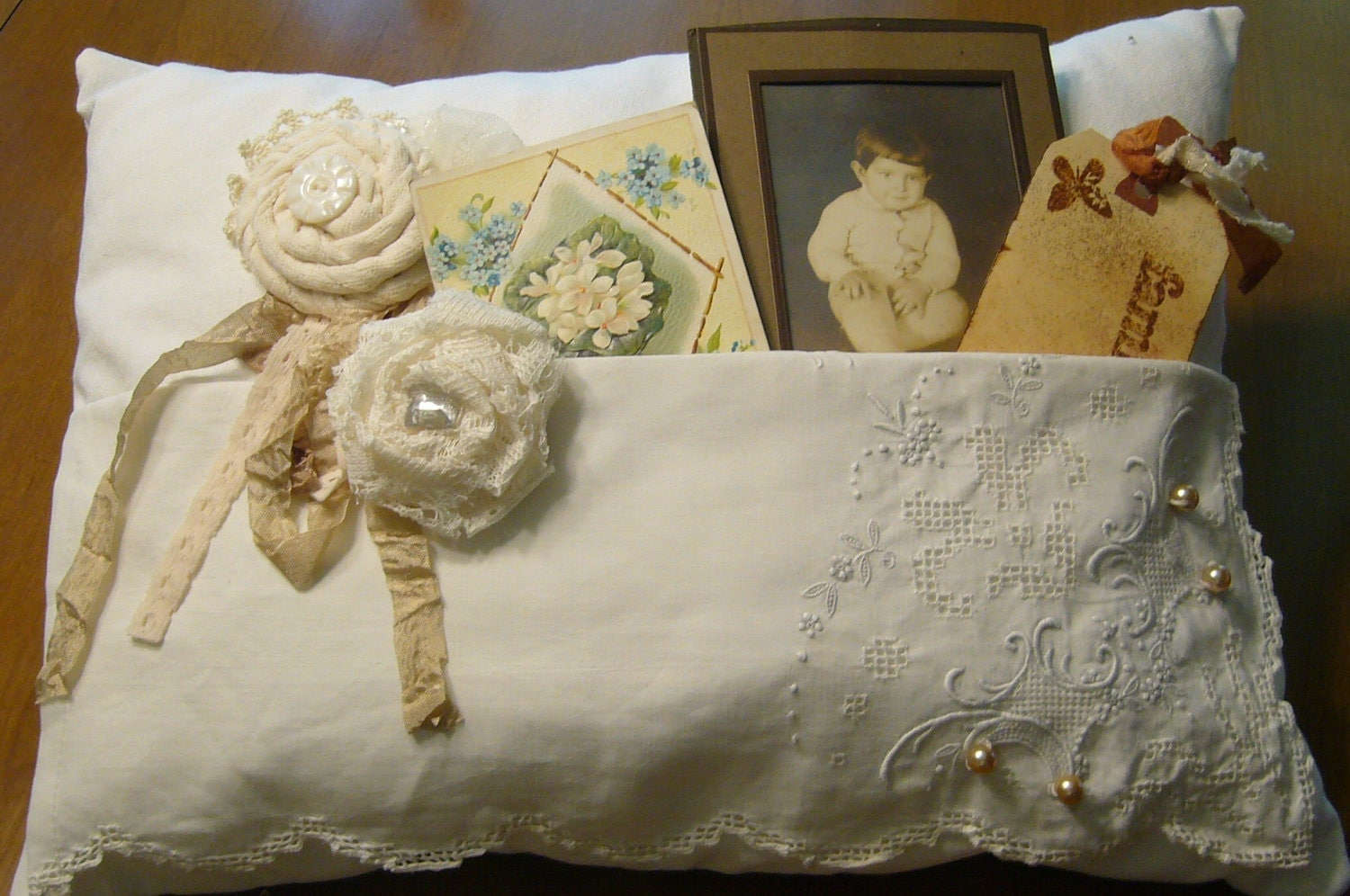 Shabby Chic Pillows On Etsy : Shabby Chic Pocket Pillow Memory Pillow by grandystrunk on Etsy