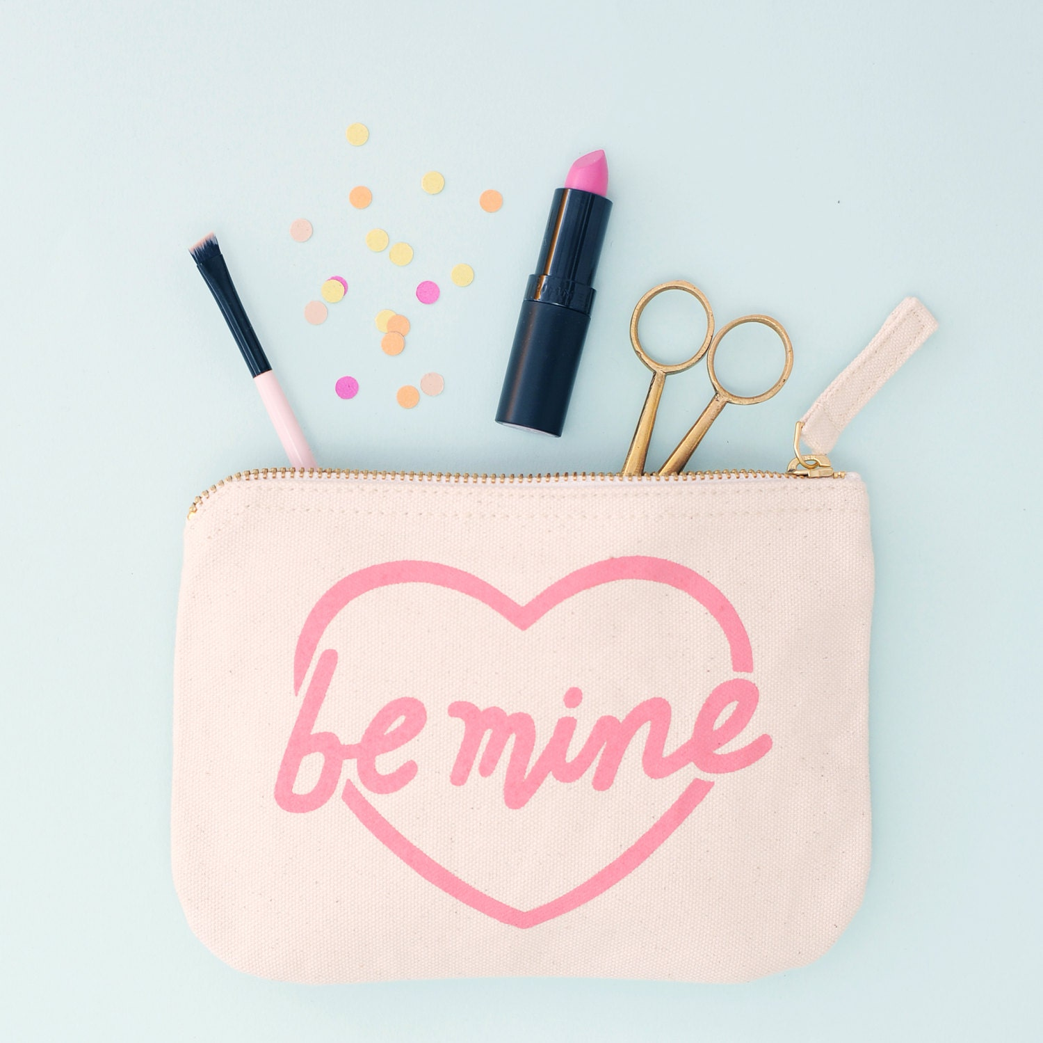 Small Zipper Bag  Cosmetics Purse  Gift for Her  Travel Makeup Bag  Be Mine Little Canvas Pouch  Alphabet Bags
