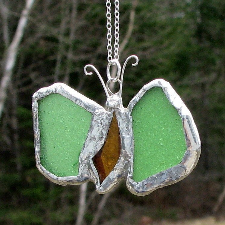 Genuine Sea Glass Stained Glass Look Butterfly Necklace