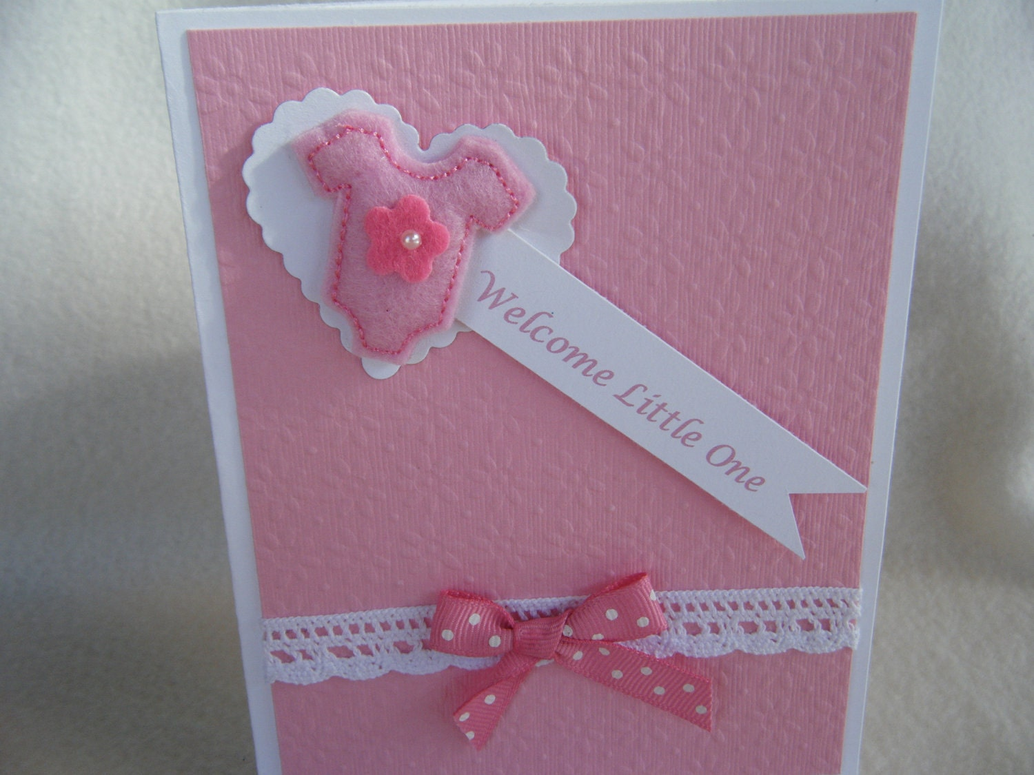 Pink Welcome Baby Card - KraftyGrannysHome