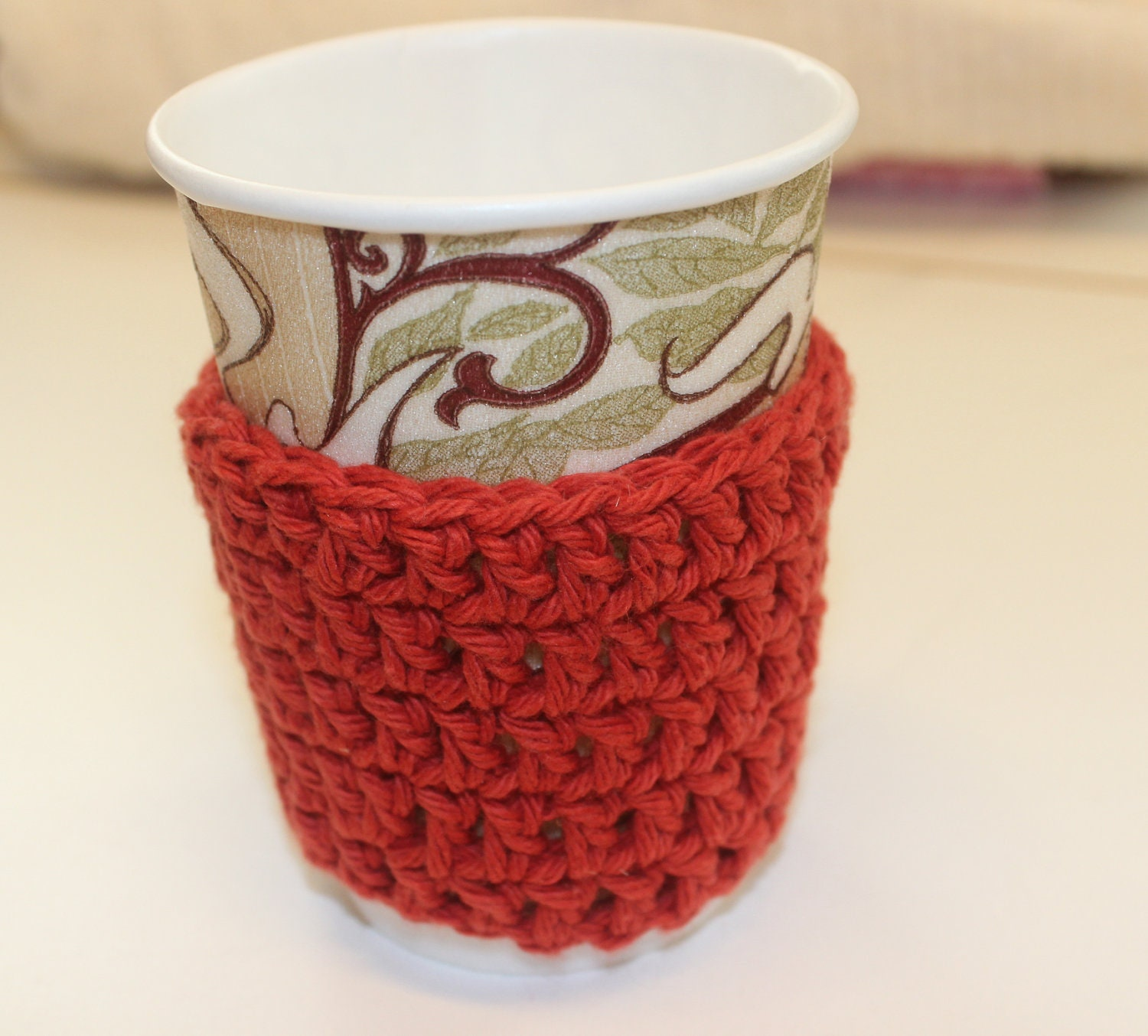 Eco Friendly Reusable Crocheted Coffee/Tea Cup Cozy/Sleeve, Paprika - LittleMonkeyShop