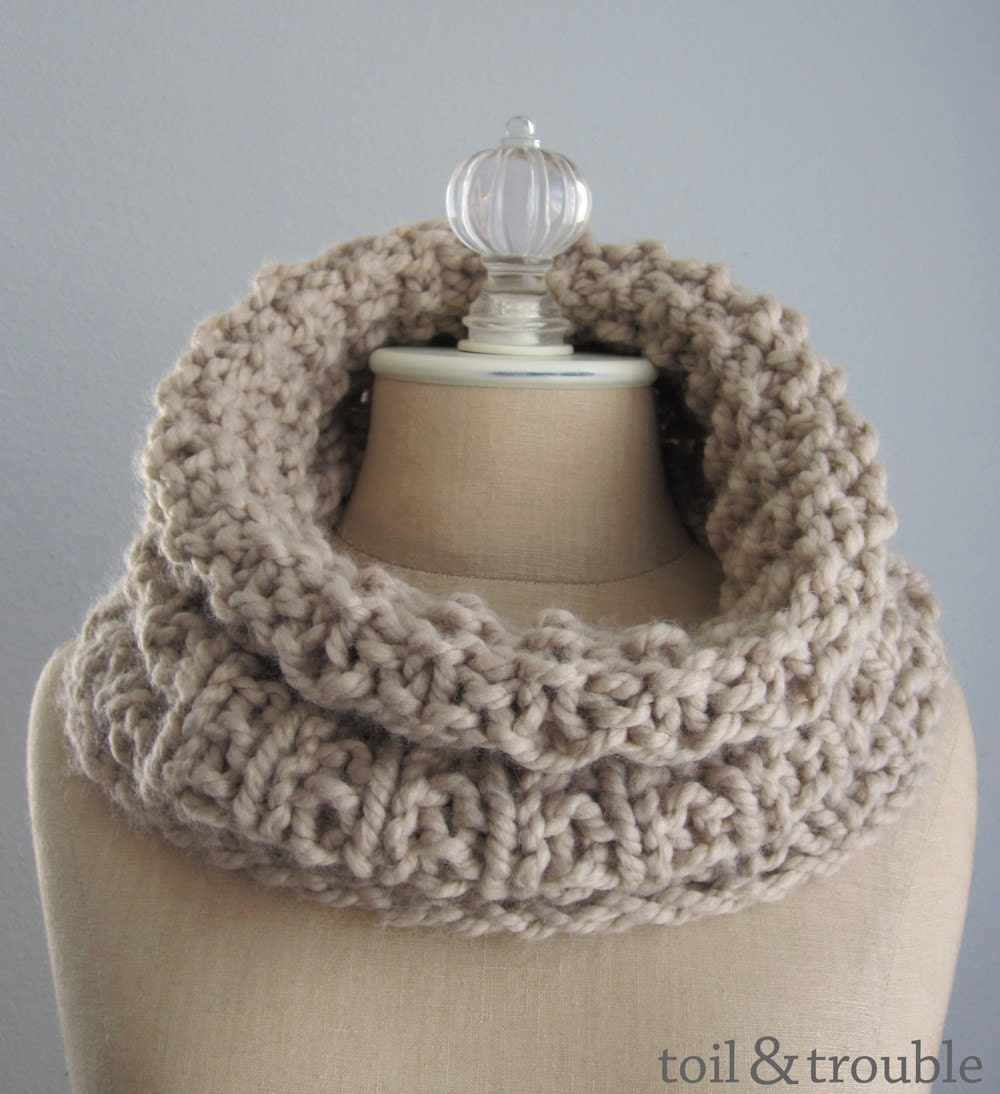 The Lyja Super Cowl - Handknit Oversized Neckwarmer - Beige Linen with Black Cord