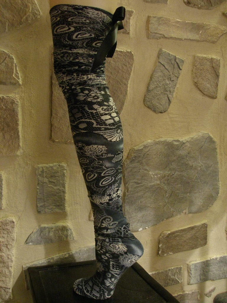 Abstract Print Scrunchie Stocking Socks Thigh Highs with Trims of Gold and Black Bow on Back (Last Pair of this Print)