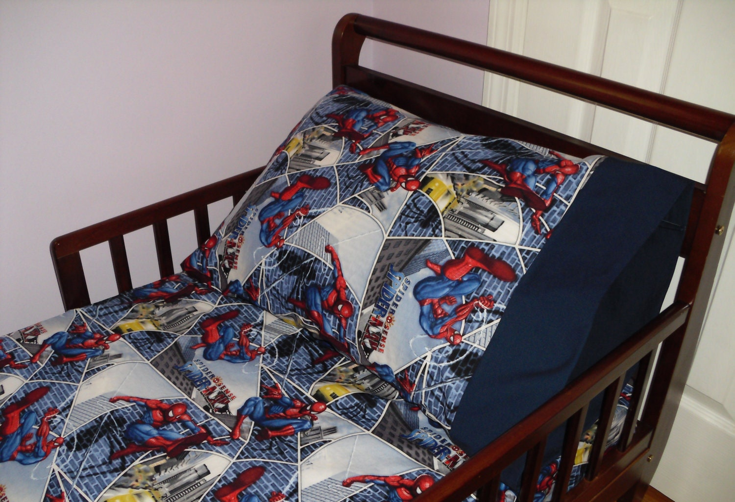 Spiderman Baby Toddler Bed Fitted Sheet By