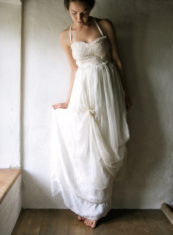 Wedding dress bridal gown long wedding dress silk by for Plus size hippie wedding dresses