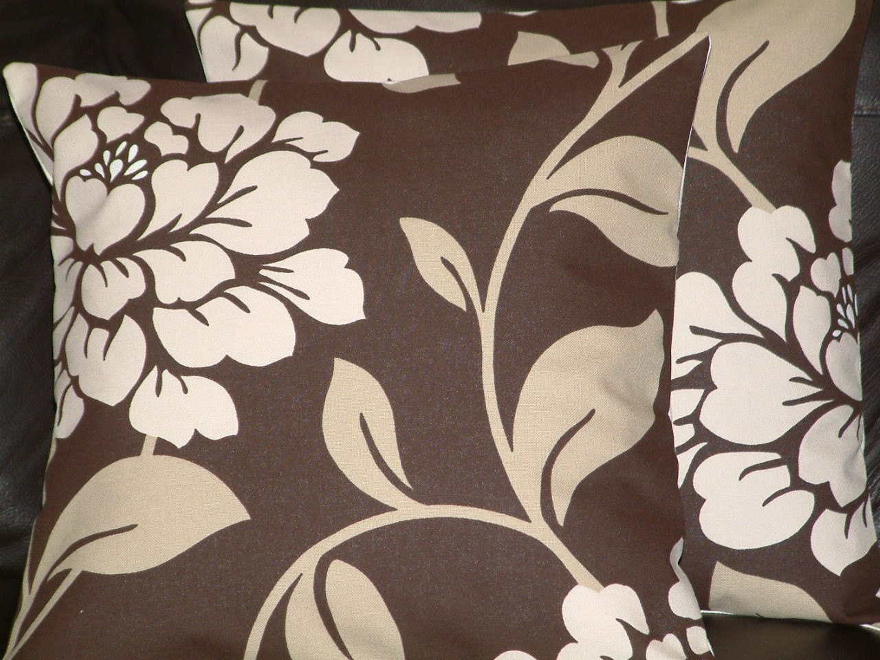 2 New Modern Contemporary 16 Chocolate Brown by MARIESCOSYCUSHIONS