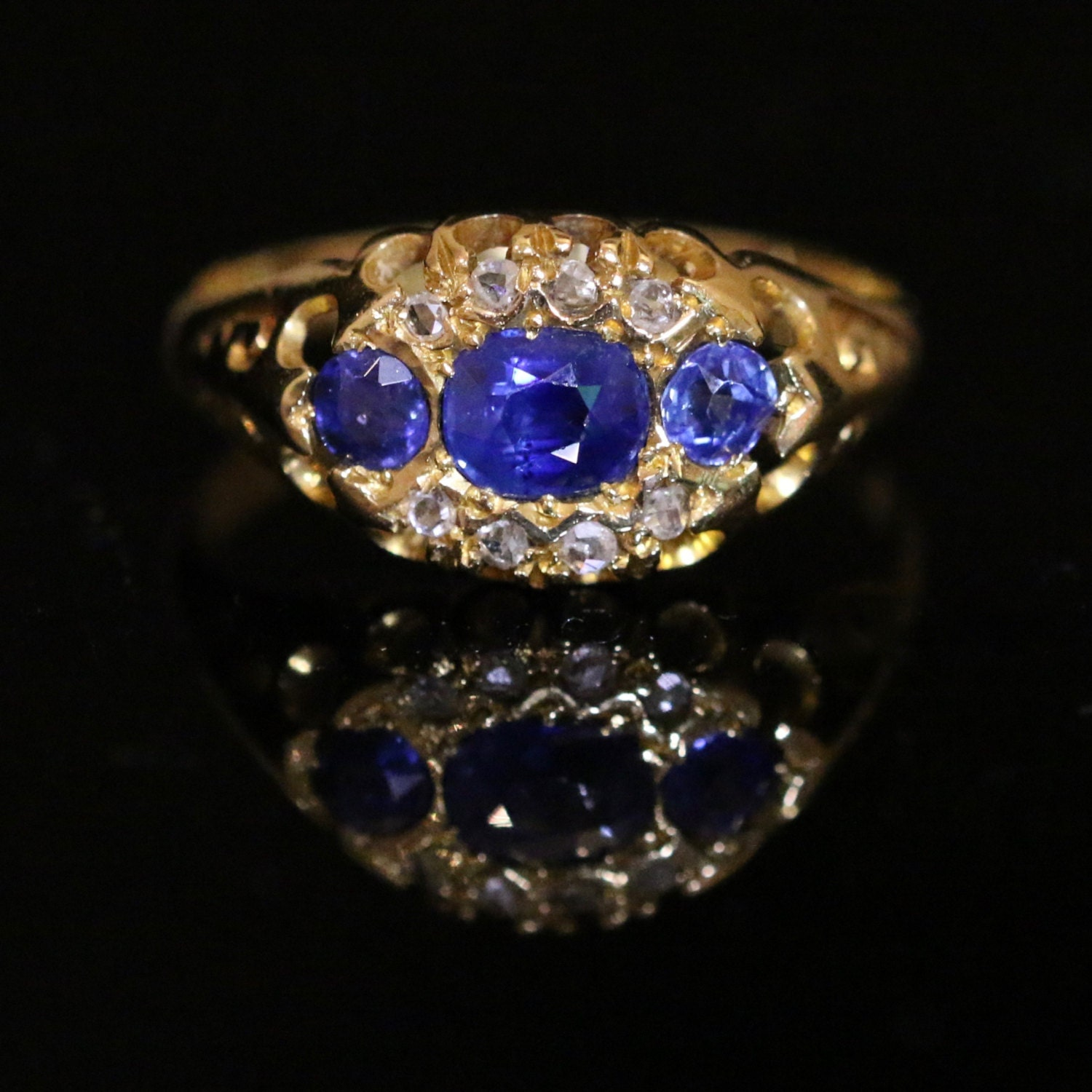 Antique Edwardian Sapphire  Diamond Ring  Dated Chester 1903