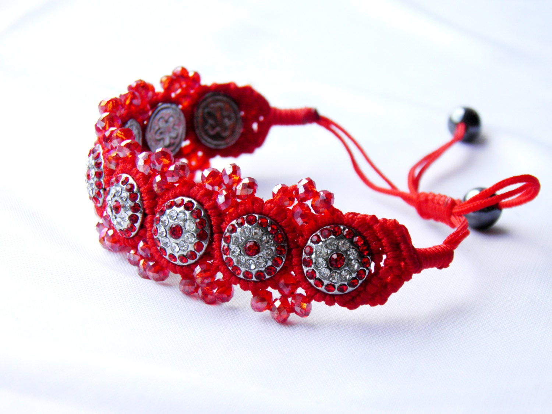 Red Shamballa Bracelet/ red Bracelet/ friendship ,bracelet Macrame - BestMaria