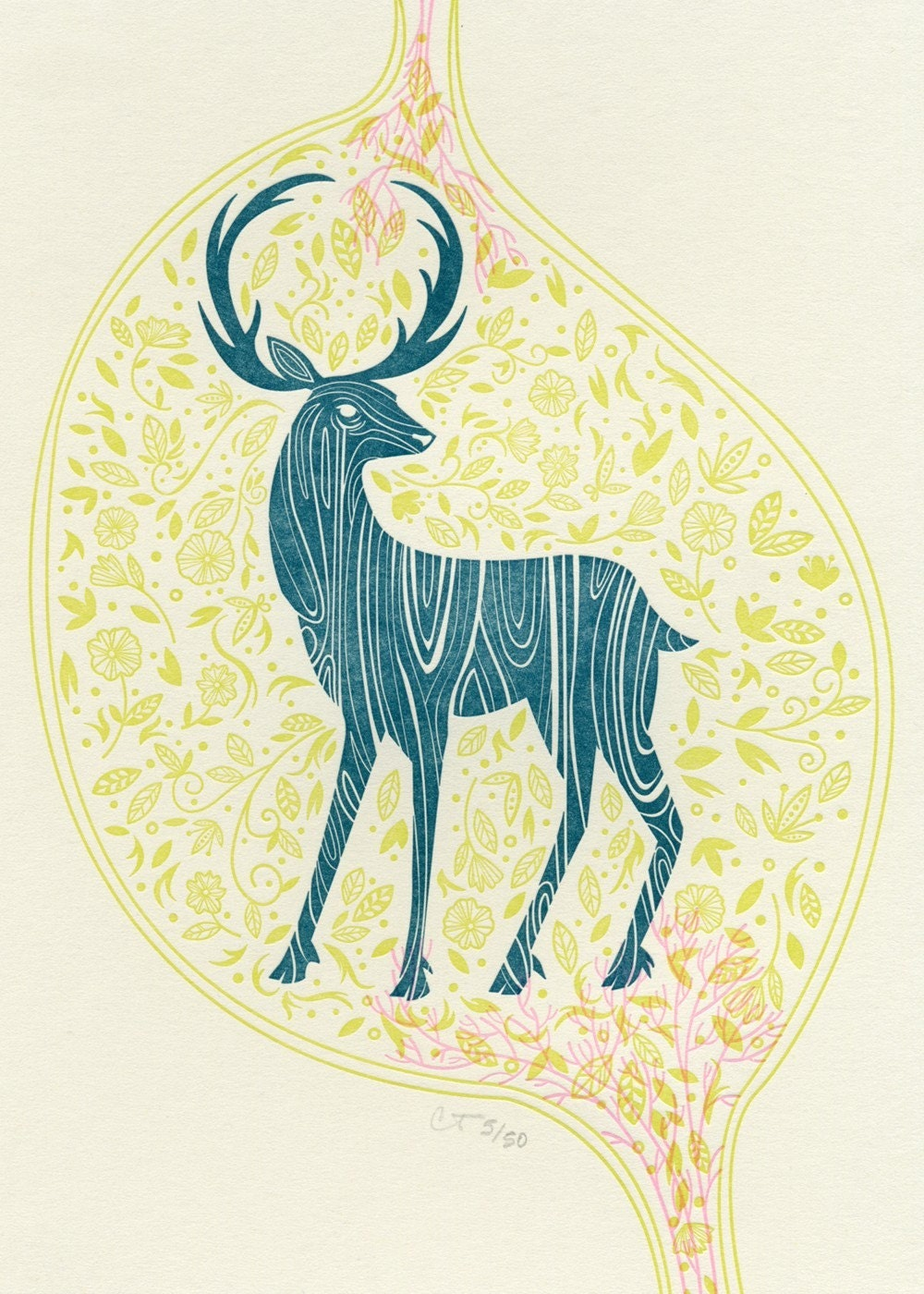 Deer Print on Tile Green