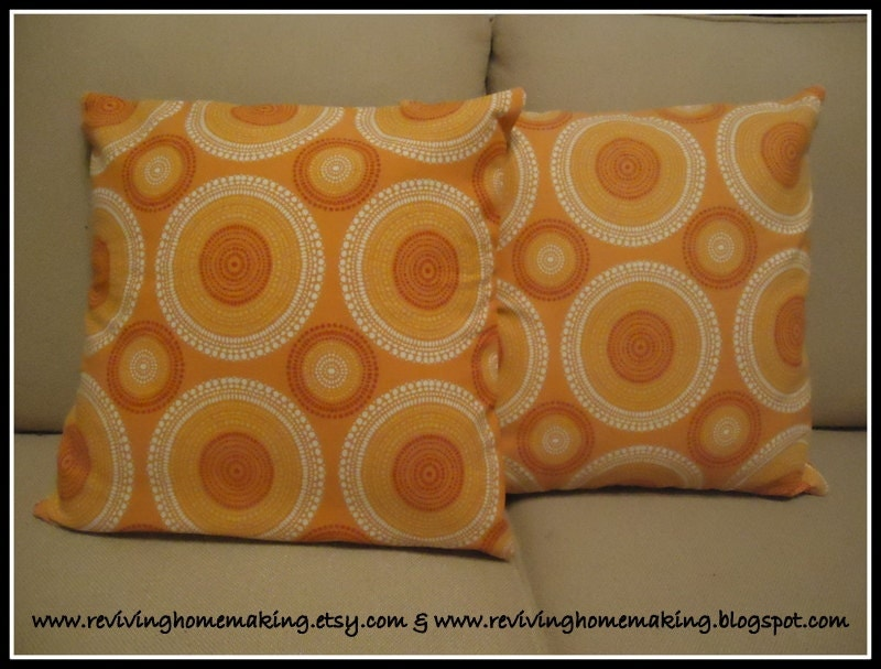 Orange Dot Pillow Cover