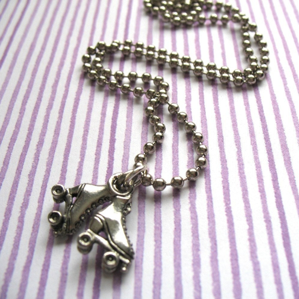 CLEARANCE. Roller Girl - Rollerskate Charm Necklace.