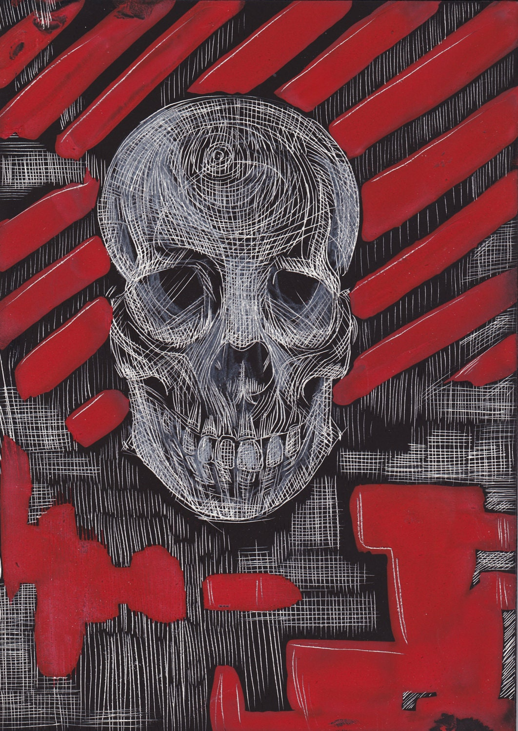 Skull & Red Stripes - Reproduction - AtomicAurora