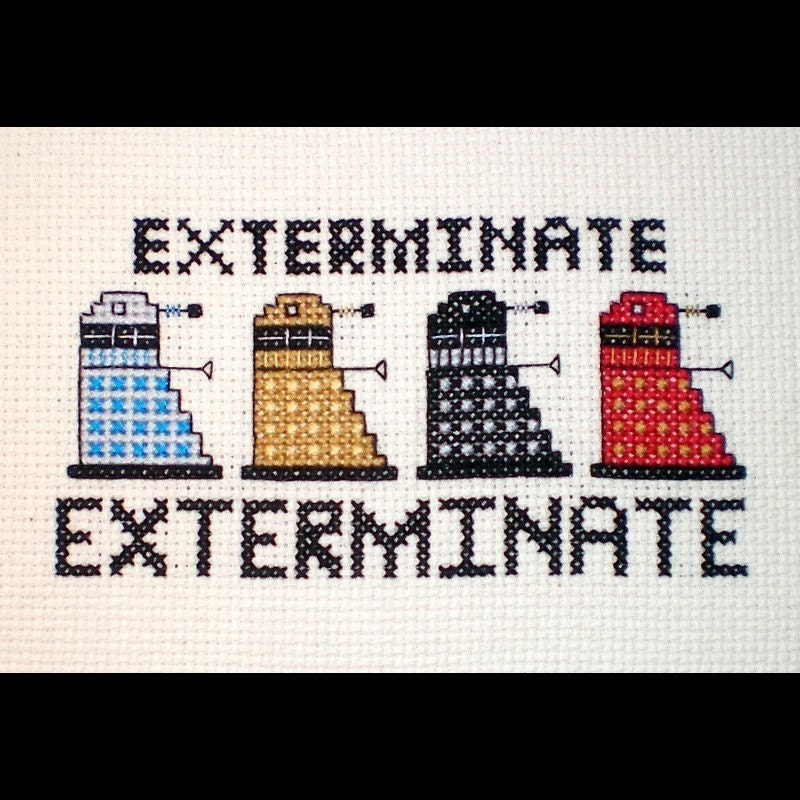 Dalek Rainbow - Doctor Who Inspired Cross-stitch Pattern