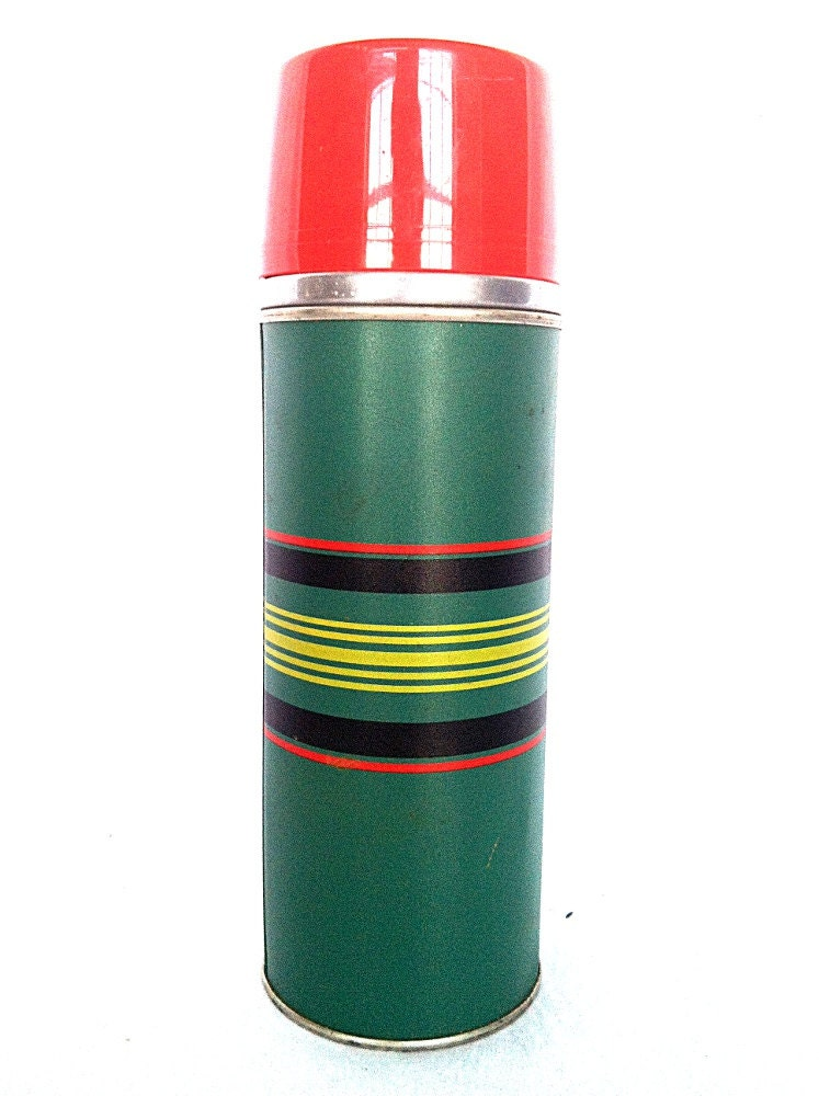 Vintage cape cod vacuum bottle aladdin thermos green with stripes 1