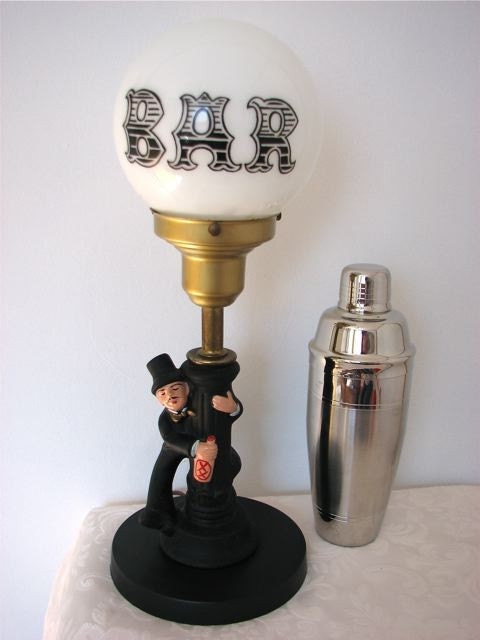Vintage Bar Table Lamp Drunk Man On Lamp Post With By