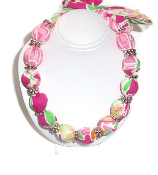 Fabric Necklace Choker made with Lilly Pulitzer Fabric
