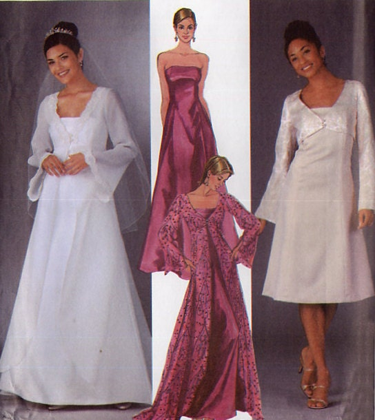 Strapless Wedding Dress Pattern Simplicity 5246 Long Coat with Train
